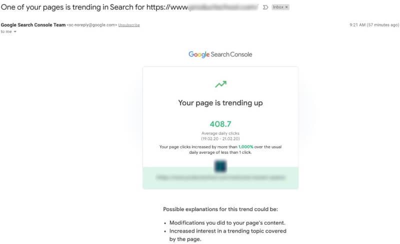 Google Search Console начал отправлять email-оповещения о скачках трафика