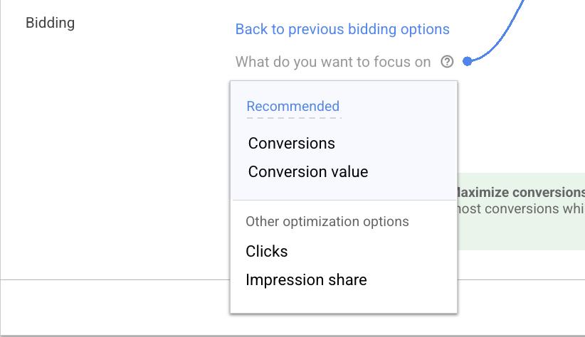 Цель кампании Google Ads теперь отображается рядом с показателем оптимизации