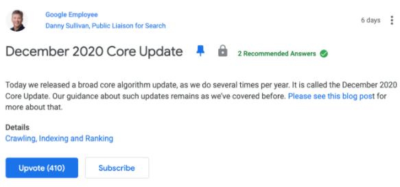Анонсы Core Update в Google