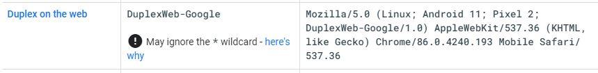 Google обновил агента пользователя для сервиса DuplexWeb