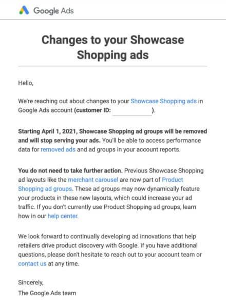 Google Ads удалит группы товарных объявлений-витрин