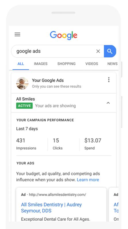 Google Ads позволит отслеживать эффективность умных кампаний прямо из выдачи