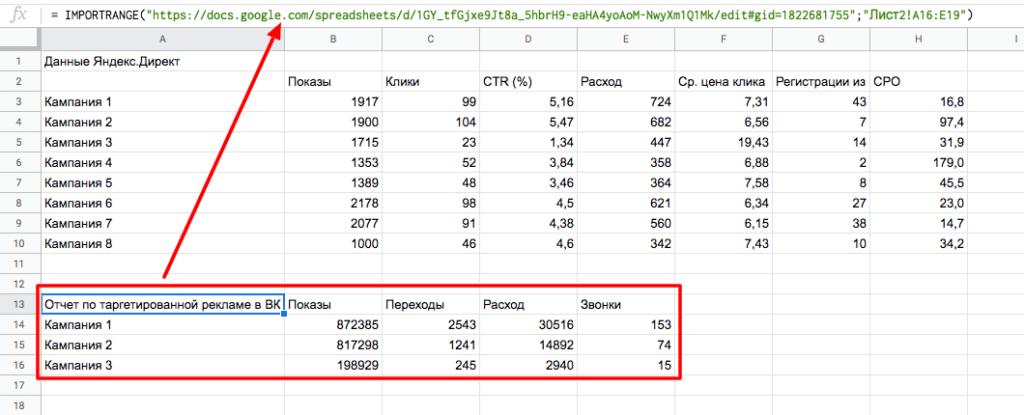 IMPORTRANGE – подтягиваем данные из других таблиц или листов