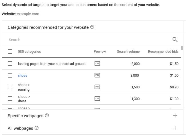 В Google можно использовать целевые страницы из групп стандартных объявлений для динамической рекламы