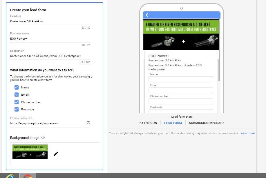 Google Ads тестирует расширение с формой для лидов