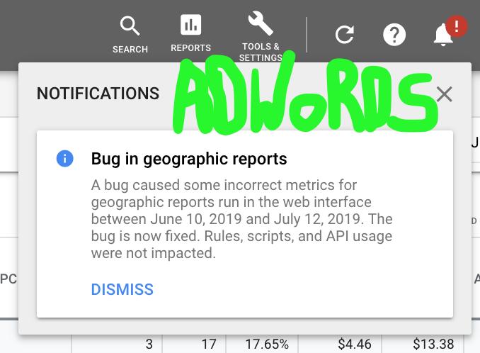 Обнаружен баг в отчетах по географии Google Ads