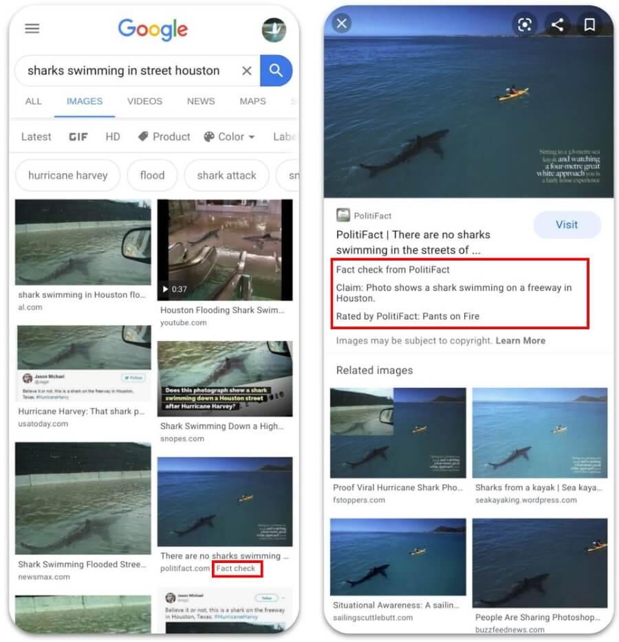 Google запустил проверку фактов для изображений в Google Картинках