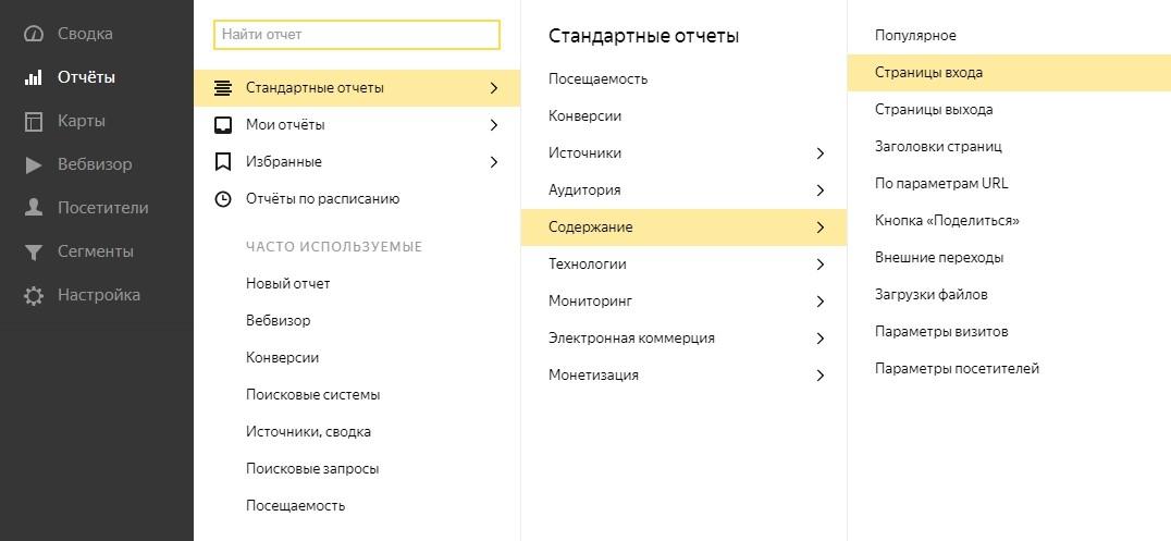 Статистика по страницам входа и выхода в Яндекс.Метрике