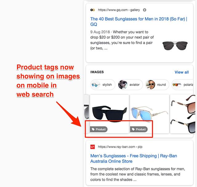 Google тестирует показ ярлыков товаров на изображениях в выдаче