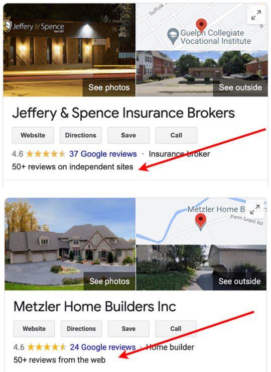 Google тестирует новое отображение отзывов в локальном поиске