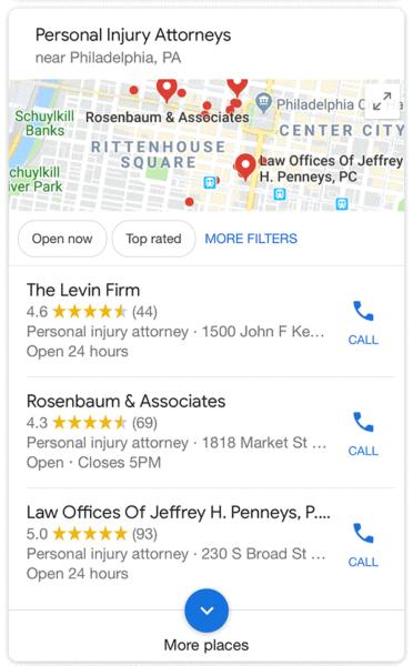 Google начал тестировать карусель с локальными результатами