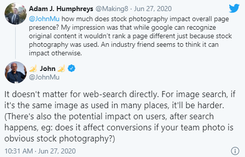 Google: влияет ли использование стоковых фото на ранжирование
