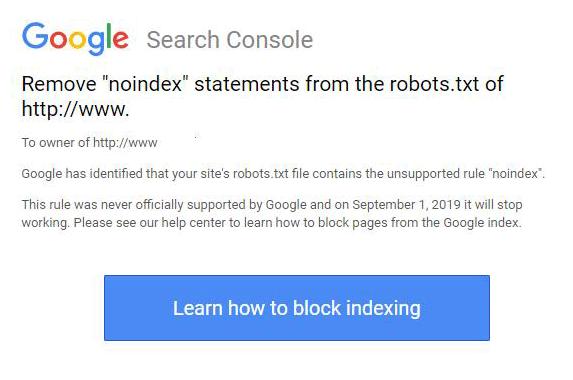 Search Console напоминает удалить тег noindex из robots.txt