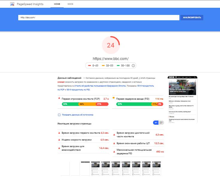 Оценка скорости загрузки сайта в Google Search Console