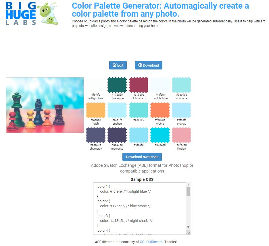 Пример цветовой раскладки