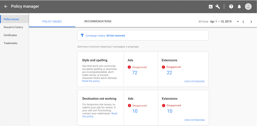 Google Ads поможет понять, почему реклама не одобрена