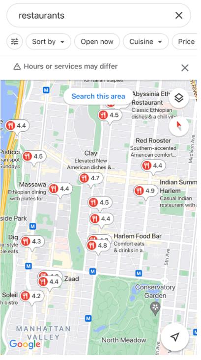 Google shows average restaurant ratings on Maps