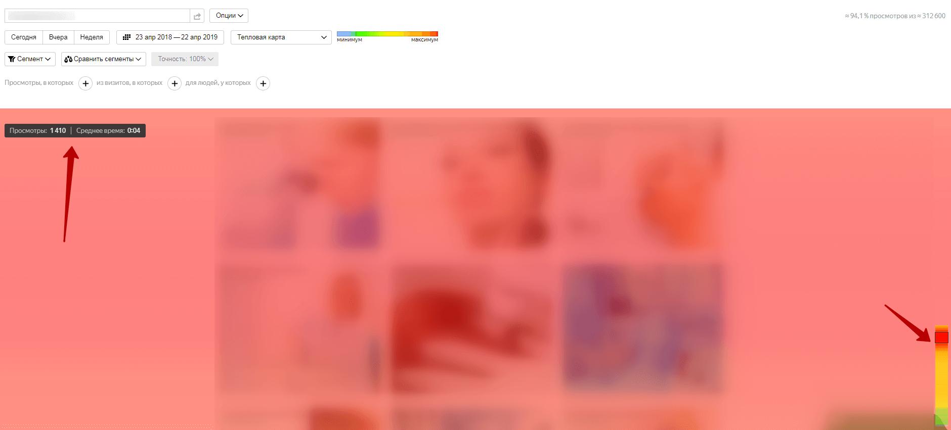 Пример карты скроллинга в Яндекс.Метрике