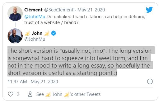 Упоминание бренда без ссылки – не сигнал доверия для Google