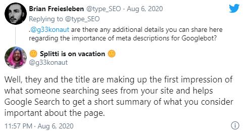Description помогает Google получить представление о странице
