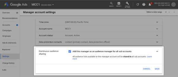 Google Ads позволил непрерывно обмениваться списками аудиторий внутри управляющих аккаунтов