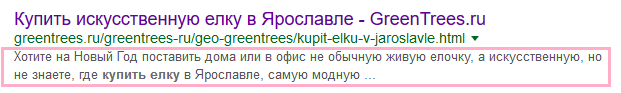 Пример отображения description в Google