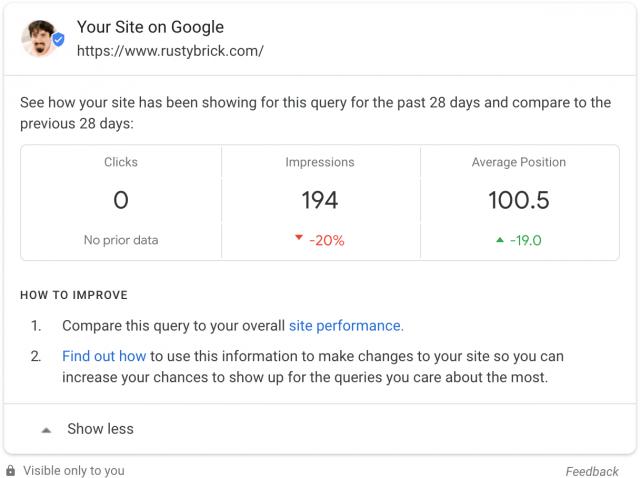 Статистика из Search Console в выдаче доступна для всех рекламодателей