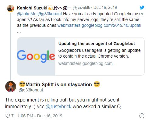 Google выкатывает обновленных агентов пользователя Googlebot