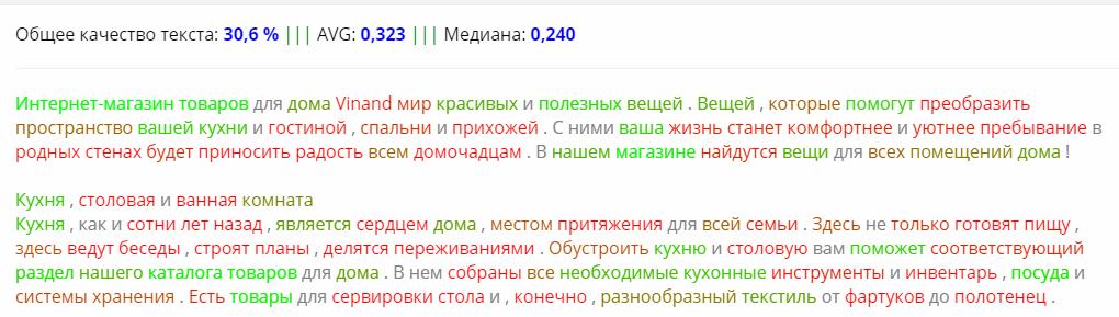Анализ текста в сервисе JustMagic (Акварель)
