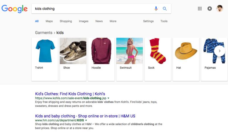 В выдаче Google появилась карусель фильтров