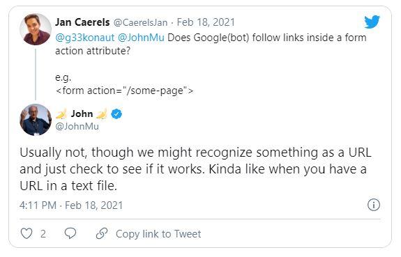 Google может индексировать URL-адреса из атрибутов Action