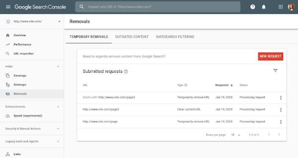 Google Search Console рассказал о новых возможностях инструмента удаления URL