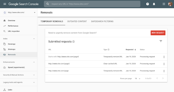 Google Search Console обновил инструмент удаления URL