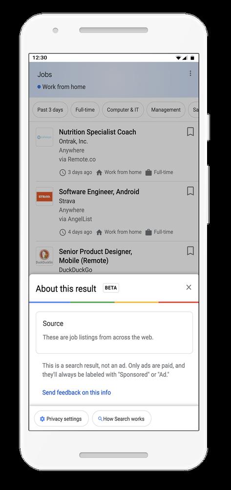 Google добавил в результаты выдачи меню с дополнительной информацией об источнике