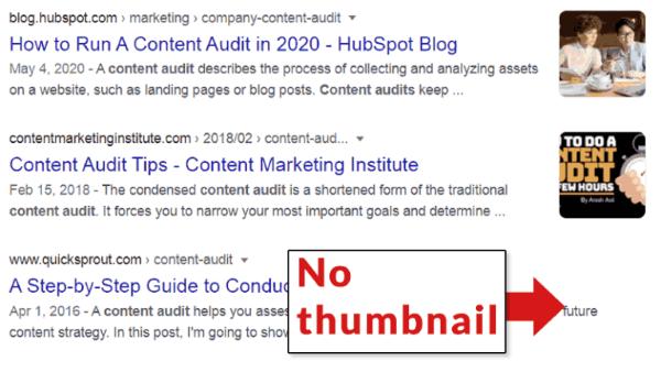 Google начал добавлять миниатюры изображений к результатам поиска