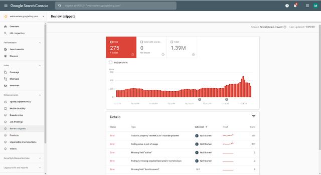Google Search Console запустил новые отчеты для страниц с отзывами