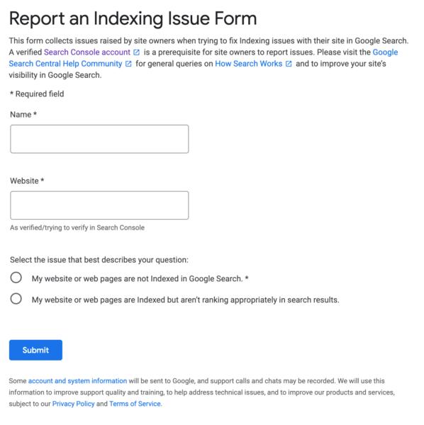 Google позволил владельцам сайтов жаловаться на проблемы с индексацией