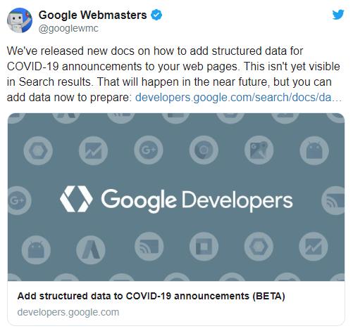 Google начнет поддерживать разметку для сообщений на тему COVID-19