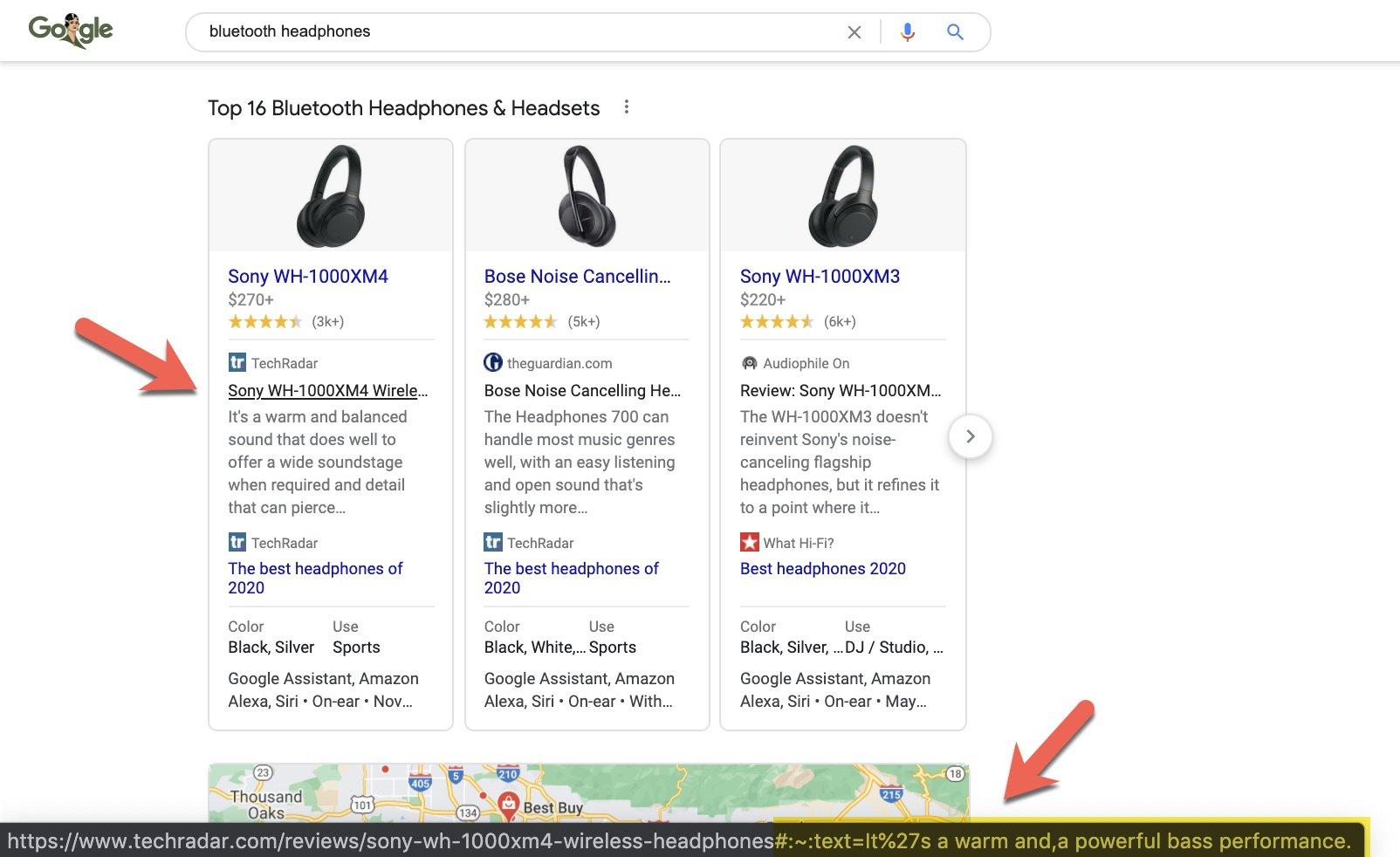 Google расширил функцию Scroll-to-text на результаты товарного поиска