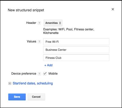 Google AdWords запускает расширения структурированных сниппетов
