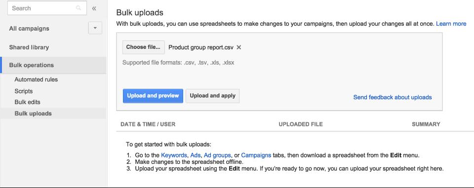 В Google AdWords теперь можно вносить изменения в группы товаров через массовую загрузку